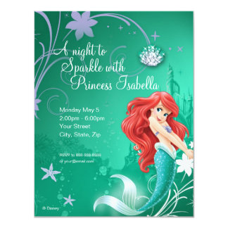 Invitación del cumpleaños de Ariel Invitación 10,8 X 13,9 Cm