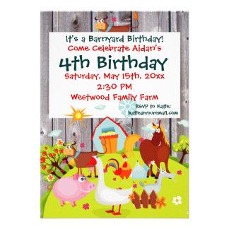Invitación del cumpleaños de Barnwood de los anima