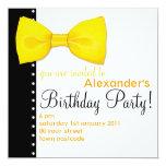 Invitación del cumpleaños de BowTie del limón