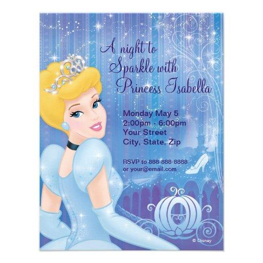Invitación del cumpleaños de Cenicienta de Zazzle.