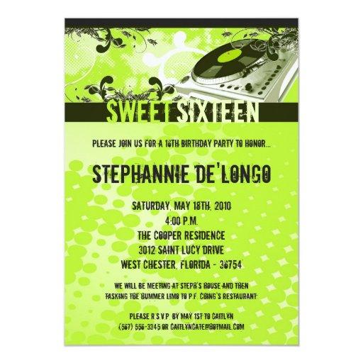 invitación del cumpleaños de Gree DJ Turntable16th