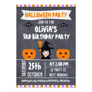 Invitación del cumpleaños de Halloween de la bruja