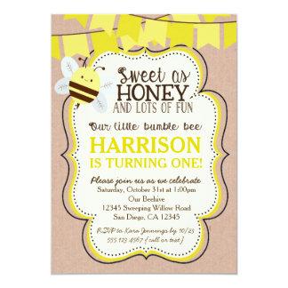 Invitación del cumpleaños de la abeja para el