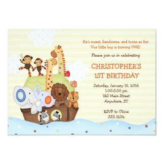 Invitación del cumpleaños de la arca de Noah (con