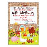 Invitación del cumpleaños de la arpillera de los
