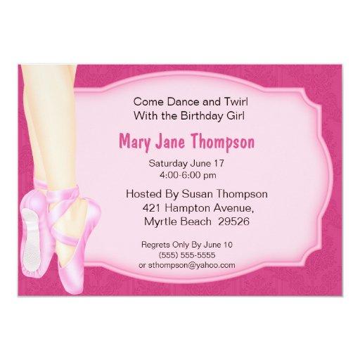 Invitación del cumpleaños de la bailarina