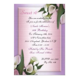 Invitación del cumpleaños de la cala del dulce 16 invitación 12,7 x 17,8 cm