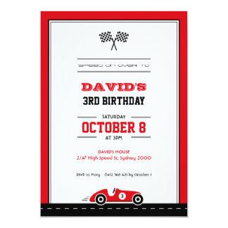 Invitación del cumpleaños de la carrera de coches