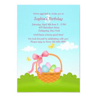 Invitación del cumpleaños de la cesta de Pascua