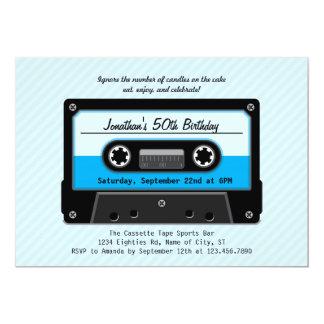 Invitación del cumpleaños de la cinta de casete