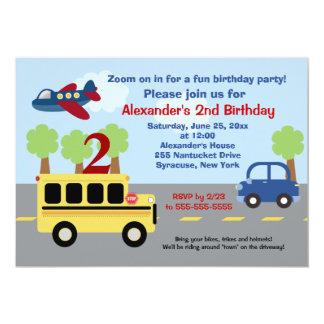 Invitación del cumpleaños de la ciudad del autobús