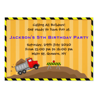 Invitación del cumpleaños de la construcción del