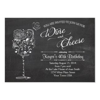 Invitación del cumpleaños de la copa de vino y del