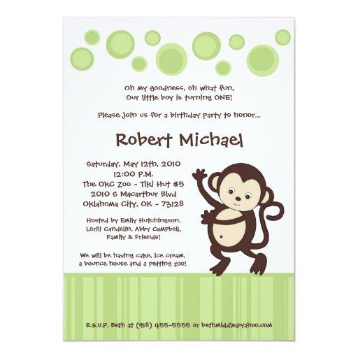 invitación del cumpleaños de la danza de mono del