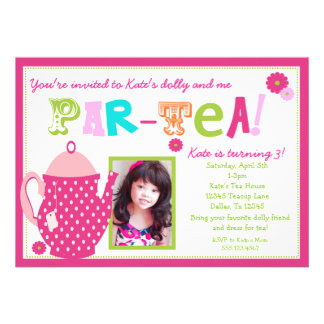 Invitación del cumpleaños de la fiesta del té para