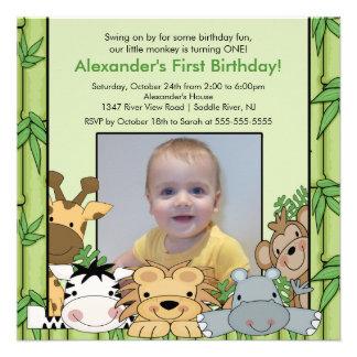 Invitación del cumpleaños de la foto de los animal