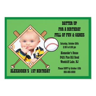 Invitación del cumpleaños de la FOTO del béisbol