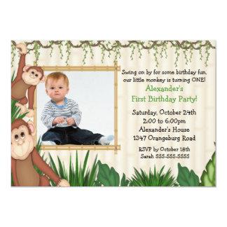 Invitación del cumpleaños de la foto del mono de