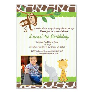 Invitación del cumpleaños de la foto del safari de