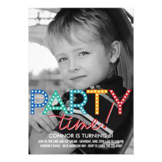 Invitación del cumpleaños de la foto del tiempo de