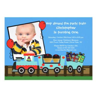 Invitación del cumpleaños de la foto del tren de l