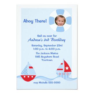 Invitación del cumpleaños de la foto del velero