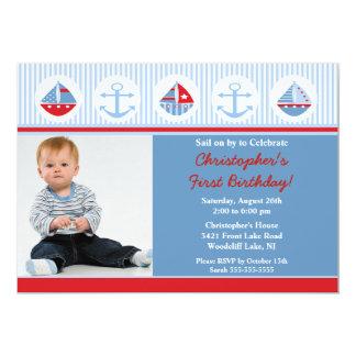 Invitación del cumpleaños de la foto del velero invitación 12,7 x 17,8 cm