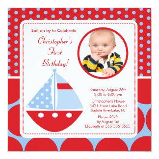 Invitación del cumpleaños de la foto del velero invitación 13,3 cm x 13,3cm