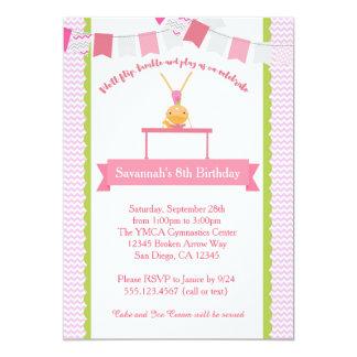 Invitación del cumpleaños de la gimnasia de los