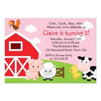 Invitación del cumpleaños de la granja - chica (ro