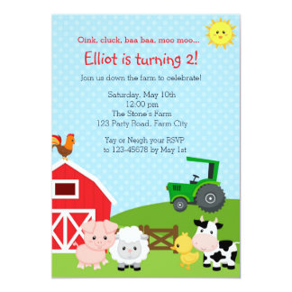 Invitación del cumpleaños de la granja con el