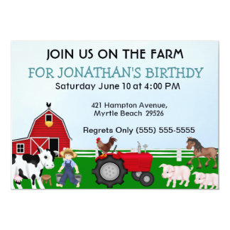 Invitación del cumpleaños de la granja de los