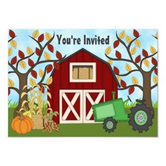 Invitación del cumpleaños de la granja del otoño