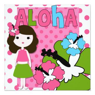Invitación del cumpleaños de la hawaiana (chica