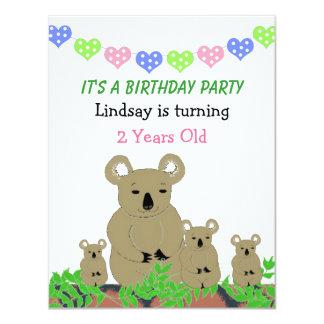 Invitación del cumpleaños de la koala