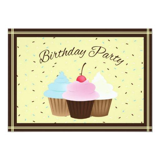 Invitación del cumpleaños de la magdalena invitación 12,7 x 17,8 cm