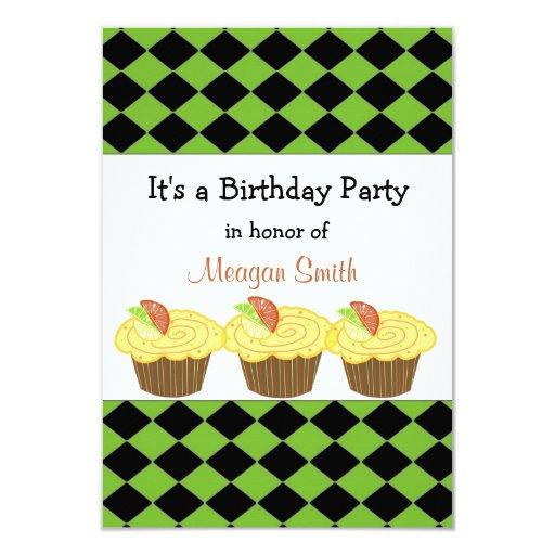 Invitación del cumpleaños de la magdalena del invitación 8,9 x 12,7 cm