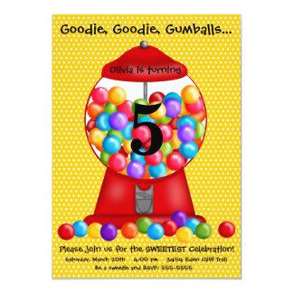 Invitación del cumpleaños de la máquina de Gumball Invitación 12,7 X 17,8 Cm