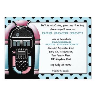 invitación del cumpleaños de la máquina tocadiscos