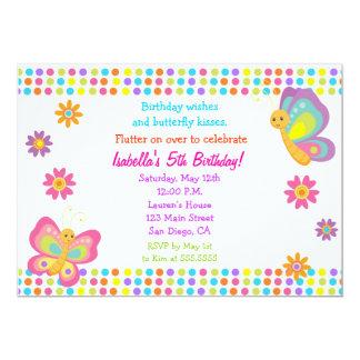 Invitación del cumpleaños de la mariposa invitación 12,7 x 17,8 cm