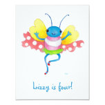 invitación del cumpleaños de la mariposa invitación 10,8 x 13,9 cm