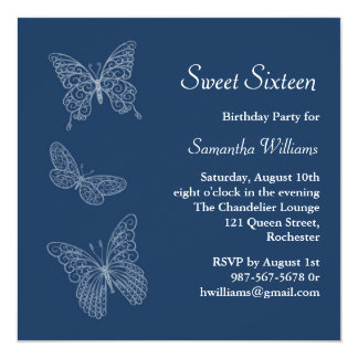 Invitación del cumpleaños de la mariposa (azul)