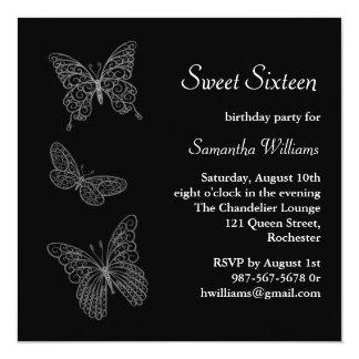 Invitación del cumpleaños de la mariposa (negro)