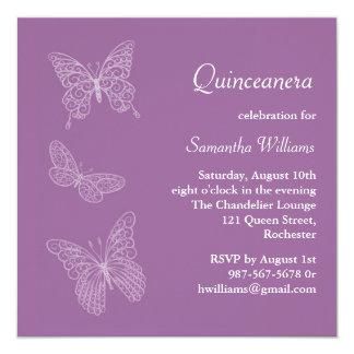 Invitación del cumpleaños de la mariposa (púrpura)