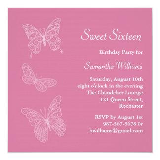 Invitación del cumpleaños de la mariposa (rosa)