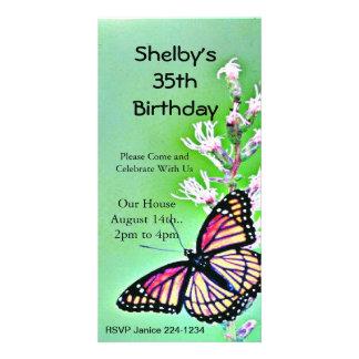 Invitación del cumpleaños de la mariposa tarjetas personales