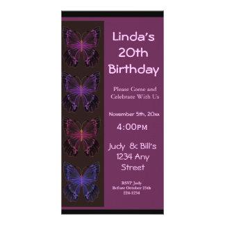 Invitación del cumpleaños de la mariposa tarjeta fotografica personalizada