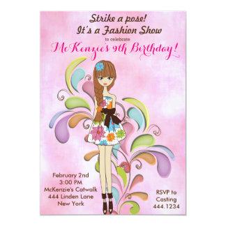 Invitación del cumpleaños de la moda del chica del