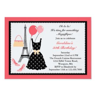 Invitación del cumpleaños de la moda del francés