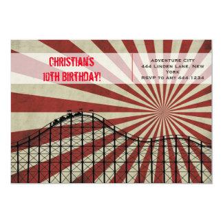 Invitación del cumpleaños de la montaña rusa del invitación 12,7 x 17,8 cm